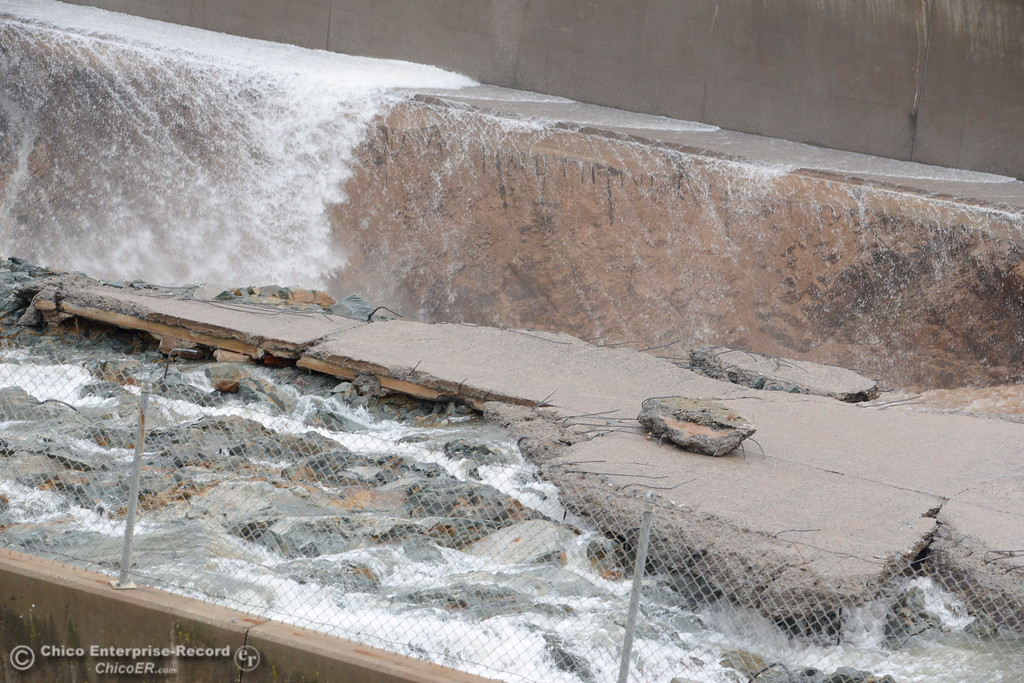 . The Lake Oroville Dam controlled spillway has sustained erosion damage seen here Tues. Feb. 7, 2017. (Bill Husa -- Enterprise-Record)