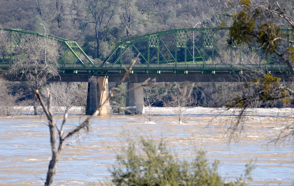 . The old bridge is seen in Oroville as the Lake Oroville Dam Spillway emergency continues in Oroville, Calif. Tues. Feb. 14, 2017. (Bill Husa -- Enterprise-Record)