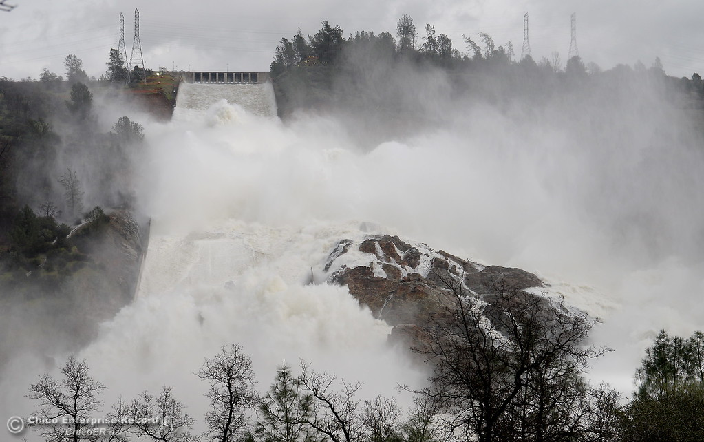 . The spillway flows at a rate of approx. 95,000 cfs Thursday morning as the Lake Oroville Dam Spillway emergency continues in Oroville, Calif. Thurs. Feb. 16, 2017. (Bill Husa -- Enterprise-Record)