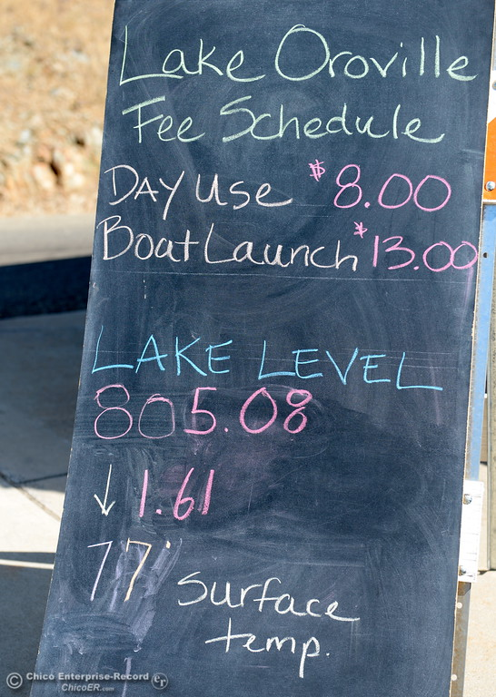 . A board posted at the entrance to the Spillway Launch Facility at Lake Oroville says todays level is 805.08.  (Bill Husa -- Enterprise-Record)