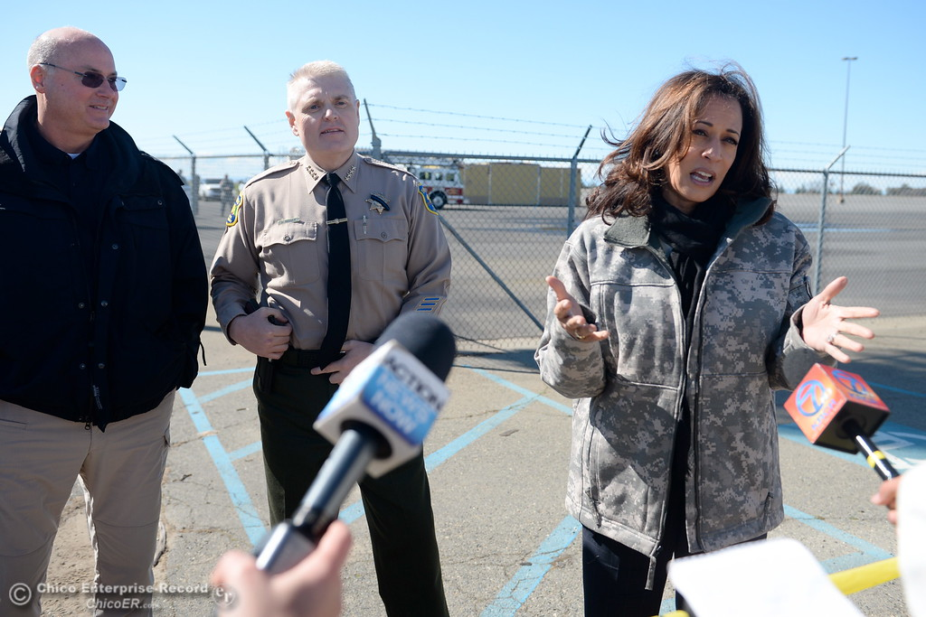 . Left to right Timothy Scranton, coordinating officer for the Federal Emergency Management Agency, Buttte County Sheriff Kory Honea, U.S. Sen. Kamala Harris talk with local media during a stop at the Oroville Airport to discuss the Lake Oroville Dam/Spillway emergency in Oroville, Calif. Thurs. Feb. 23, 2017. (Bill Husa -- Enterprise-Record)
