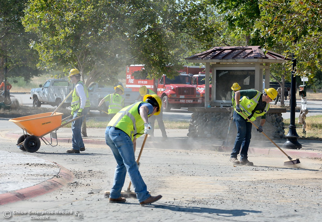 . Groups from several agencies including Keiwit are working together to repair multiple issues in and around Riverbend Park in Oroville, Calif. Friday, June 23, 2017. (Bill Husa -- Enterprise-Record)