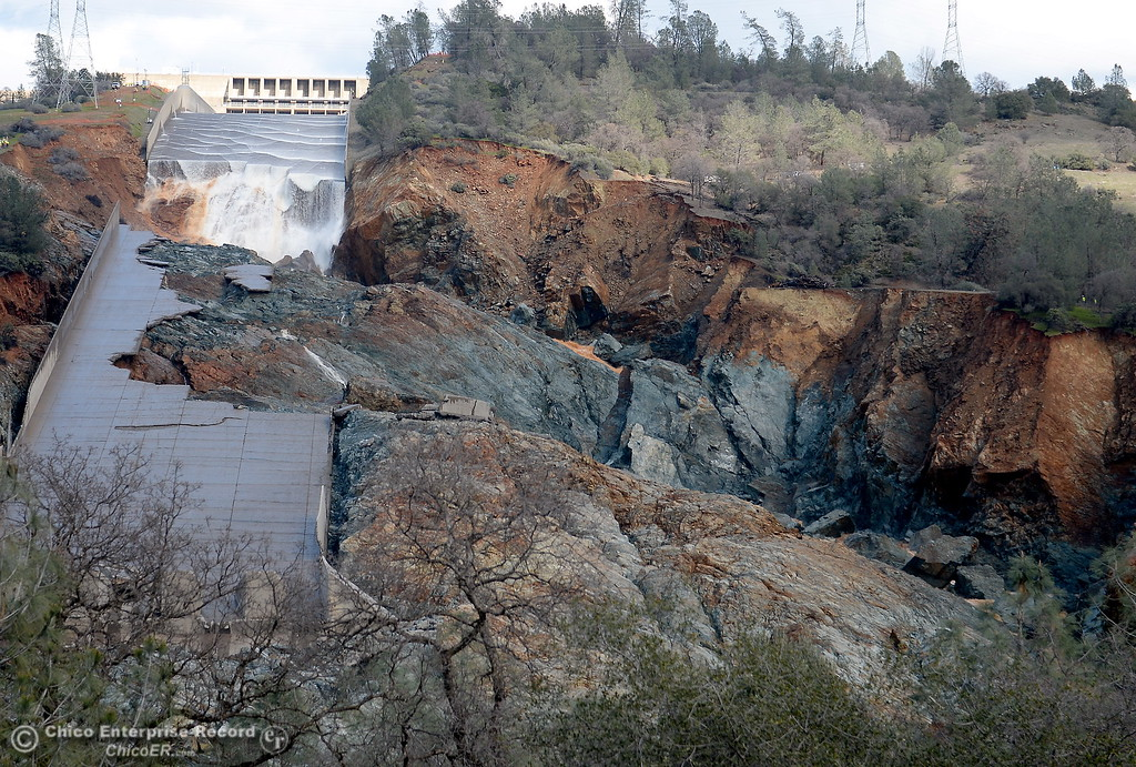 . As DWR decreases flow on the damaged spillway the extent of the damage is clearly visible Monday Feb. 27, 2017. (Bill Husa -- Enterprise-Record)