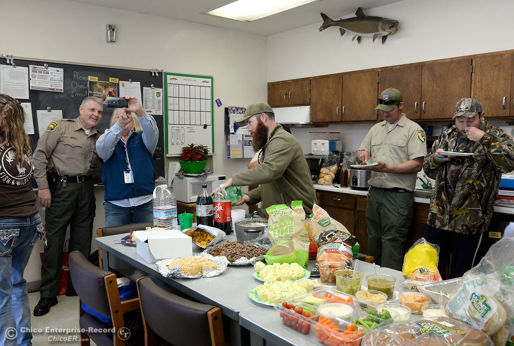 . Fish & Wildlife employees enjoy a pot luck barbecue lunch brought by the federal agency NOAA to thank Fish & Wildlife employees for their hard work in saving the fish during the Oroville Dam Spillway emergency event Friday March 10, 2017. (Bill Husa -- Enterprise-Record)