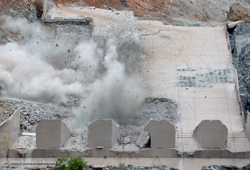 . A section of the lower part of the damaged spillway is blasted with explosives seen during an inspection of the Lake Oroville Dam Spillway Wed. May 31, 2017. (Bill Husa -- Enterprise-Record)