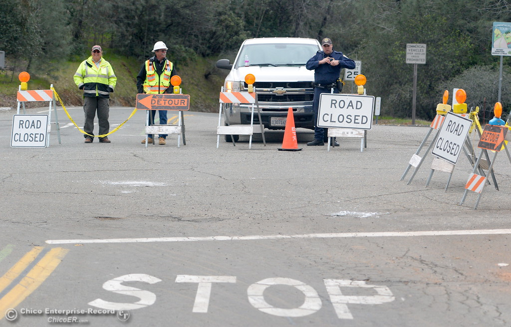 . Several road blocks remain in place as the Lake Oroville Dam Spillway emergency continues in Oroville, Calif. Wed. Feb. 15, 2017. (Bill Husa -- Enterprise-Record)