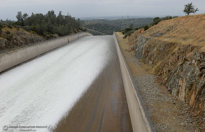 Water flows over the controlled Spillway at the Lake Oroville dam in Oroville, Calif. Thurs. May 5, 2016. The lake is approx. 9 feet from the crest as of today. (Bill Husa -- Enterprise-Record)
