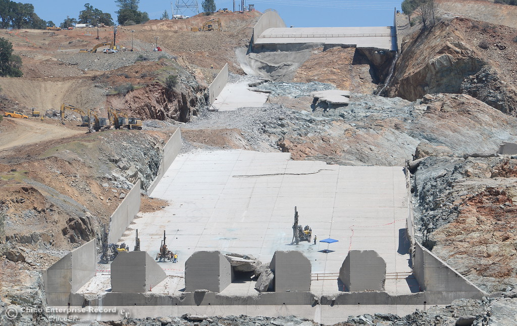 . What remains of the lower part of the spillway is seen as construction continues on the Lake Oroville Dam Spillway Wednesday May 24, 2017.  (Bill Husa -- Enterprise-Record)