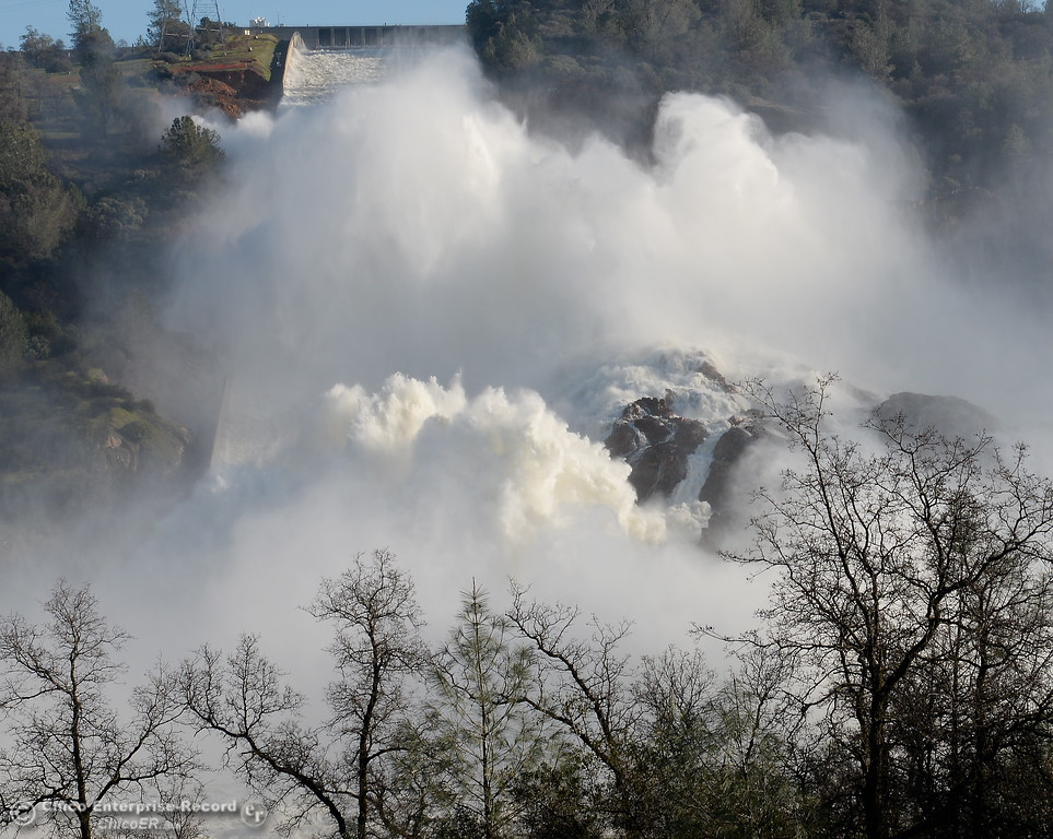 . The Spillway continues to pump out roughly 100,000 cfs as the Lake Oroville Dam Spillway emergency continues in Oroville, Calif. Tues. Feb. 14, 2017. (Bill Husa -- Enterprise-Record)