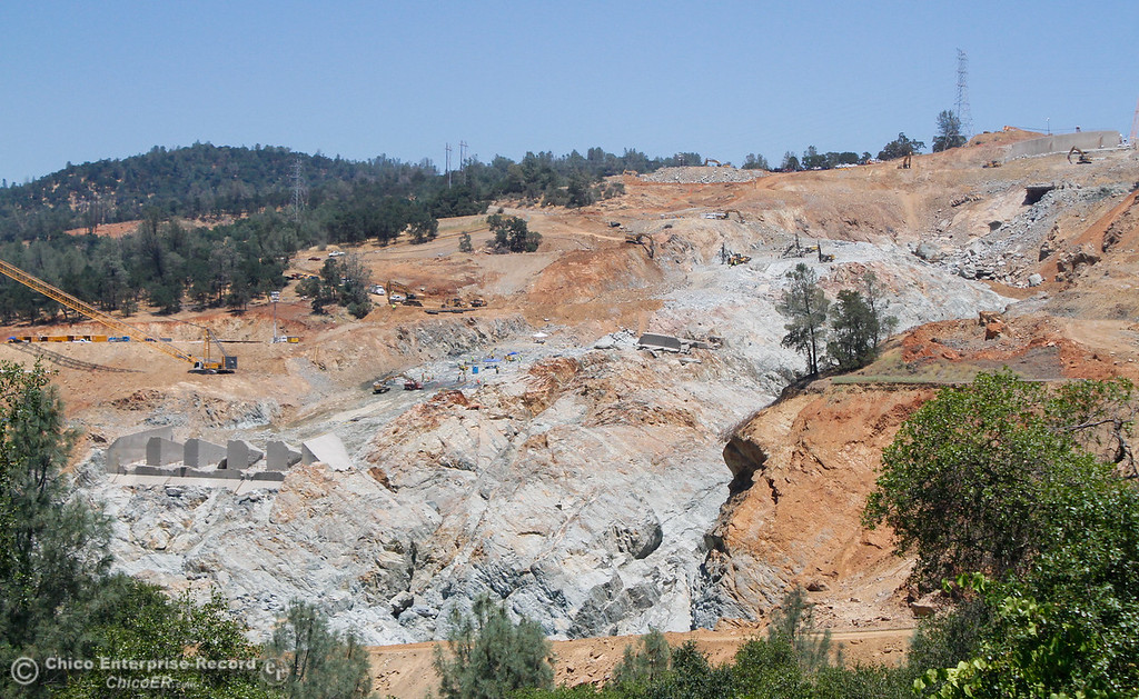 . Work continues on the Lake Oroville spillway Tuesday June 20, 2017 in Oroville, California. (Emily Bertolino -- Mercury Register)