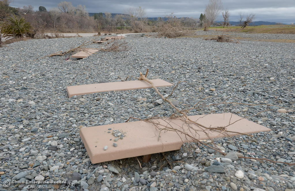 . Table tops sit about even with the rocks along the bank of the Feather River seen at Riverbend Park during a tour of the damaged areas within the park Monday March 6, 2017.  (Bill Husa -- Enterprise-Record)