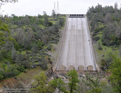 The lake Oroville Dam Spillway remains dry Monday, March 7, 2016. (Bill Husa -- Enterprise-Record)