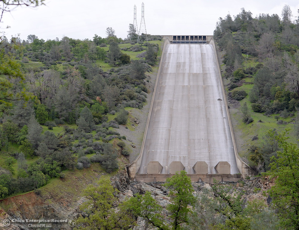 . The lake Oroville Dam Spillway remains dry Monday, March 7, 2016. (Bill Husa -- Enterprise-Record)