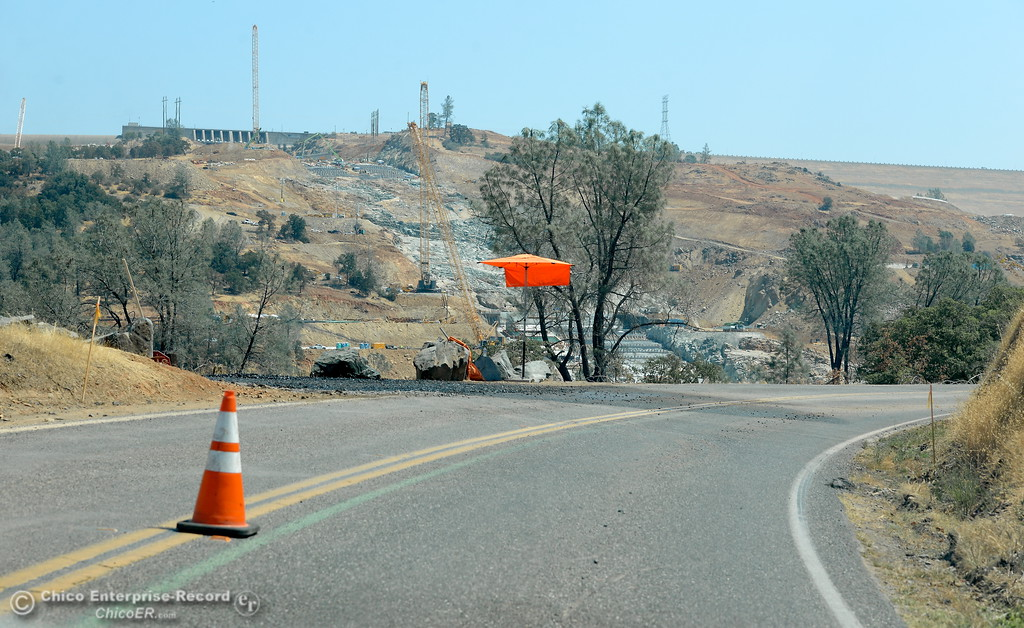 . Lots of trees have been removed along Oro Dam Blvd. East as work continues at the Lake Oroville Dam Spillway Wednesday Aug. 9, 2017. (Bill Husa -- Enterprise-Record)