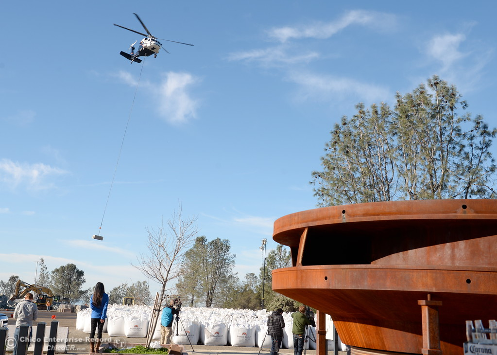. Various helicopters tasked with different jobs are on hand to help with repairs as the Lake Oroville Dam Spillway emergency continues in Oroville, Calif. Tues. Feb. 14, 2017. (Bill Husa -- Enterprise-Record)