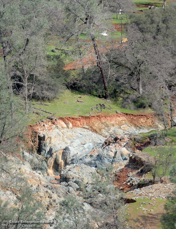 . Erosion is seen near the base of the Spillway as work at the Oroville Dam, Oroville Spillway Tuesday Feb. 21, 2017. (Bill Husa -- Enterprise-Record)