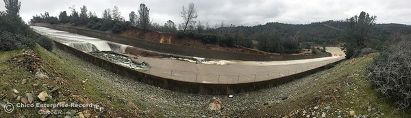 The is a panorama photo taken with an iPhone. The Lake Oroville Dam controlled spillway has sustained erosion damage seen here Tues. Feb. 7, 2017. (Bill Husa -- Enterprise-Record)