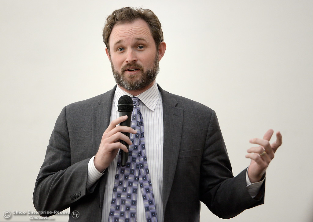 . Assemblyman 3rd Districti James Gallagher speaks to Chico area leaders about the ongoing situation with the Oroville Dam Oroville Spillway and water concerns during a meeting in Chico, Calif. Thurs. March 30, 2017. (Bill Husa -- Enterprise-Record)