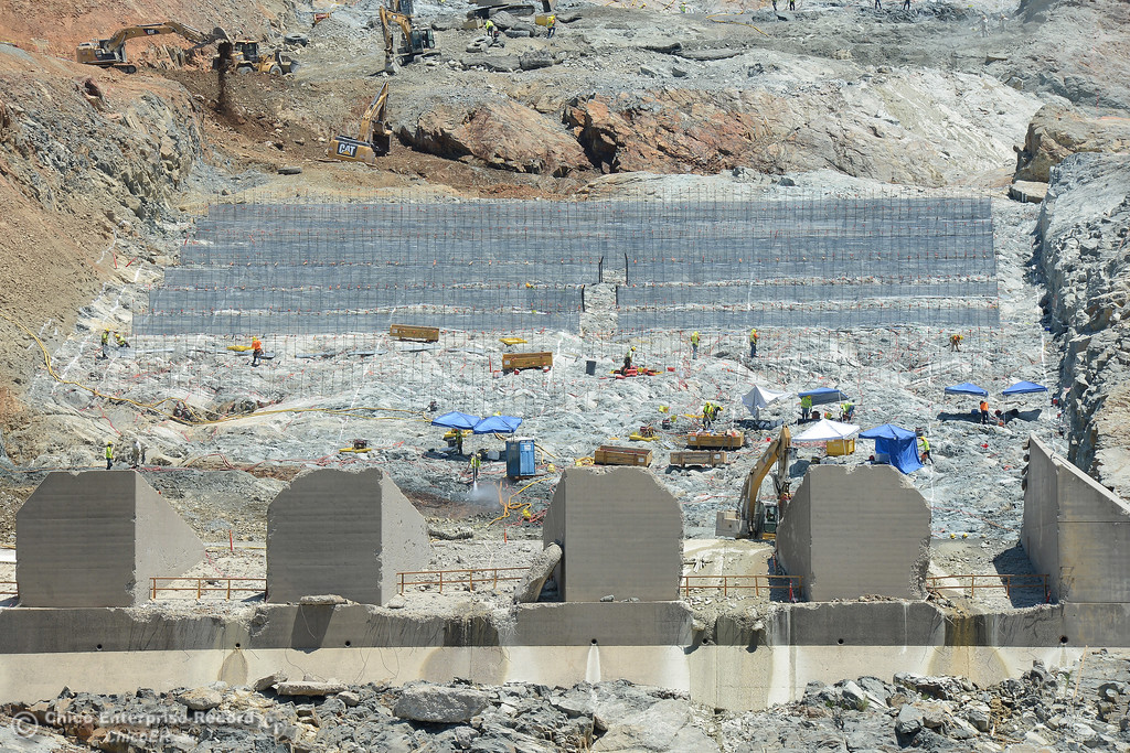 . Construction continues Saturday, July 1, 2017, at the Oroville Dam spillway in Oroville, California. (Dan Reidel -- Enterprise-Record)