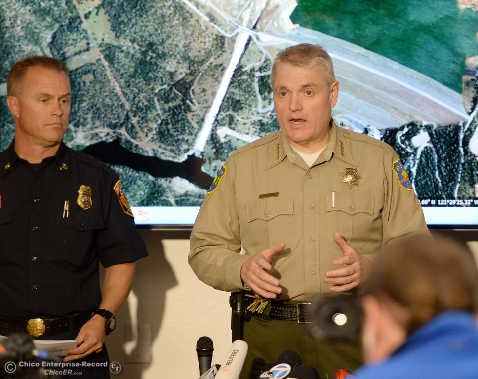 . Butte County Sheriff Kory Honea talks about the mandatory evacuations during a press conference as the Lake Oroville Dam Spillway emergency continues in Oroville, Calif. Mon. Feb. 13, 2017. (Bill Husa -- Enterprise-Record)