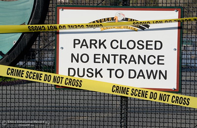 Crime scene tape blocks the entrance to Riverbend Park as the Lake Oroville Dam Spillway emergency continues in Oroville, Calif. Tues. Feb. 14, 2017. (Bill Husa -- Enterprise-Record)