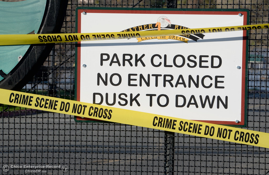. Crime scene tape blocks the entrance to Riverbend Park as the Lake Oroville Dam Spillway emergency continues in Oroville, Calif. Tues. Feb. 14, 2017. (Bill Husa -- Enterprise-Record)