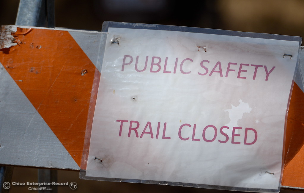 ". Trails remain closed near the Lake Oroville Visitor Center due to ""Public Safety\"" surrounding the Lake Oroville Dam Spillway incident in Oroville, Calif. Friday Oct. 20. 2017. (Bill Husa -- Enterprise-Record)"