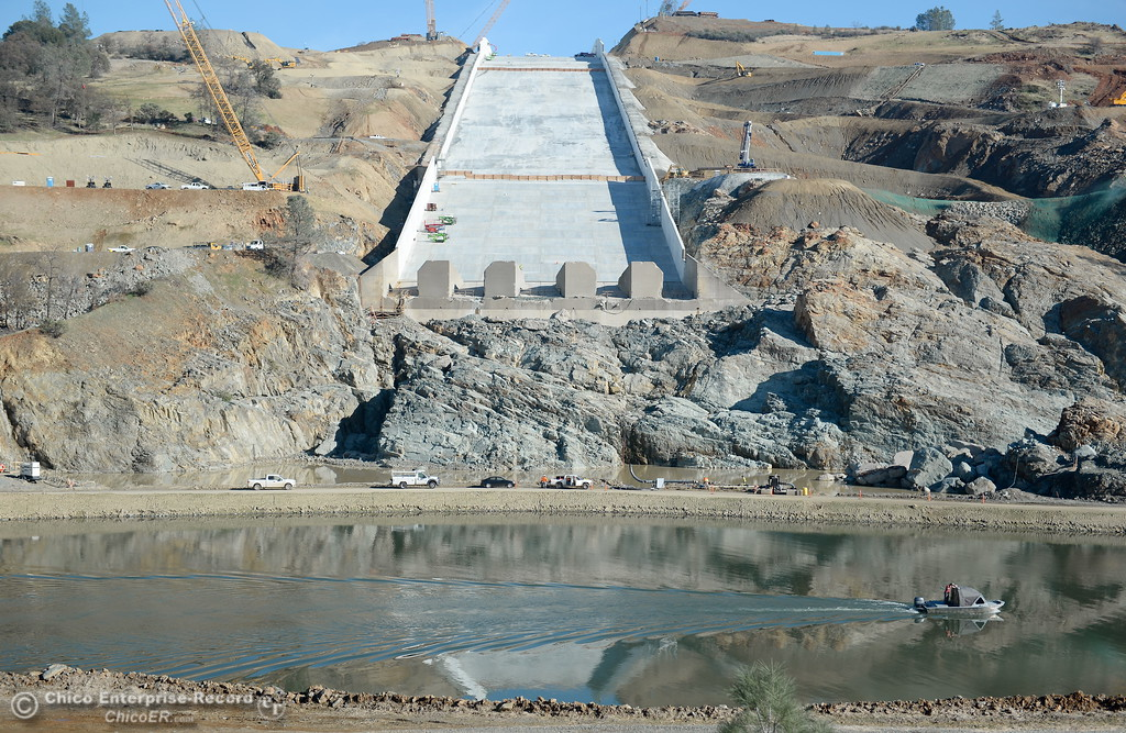 . Work continues on the Lake Oroville Dam controlled spillway in Oroville, Calif. Wed. Nov. 29, 2017. (Bill Husa -- Enterprise-Record)