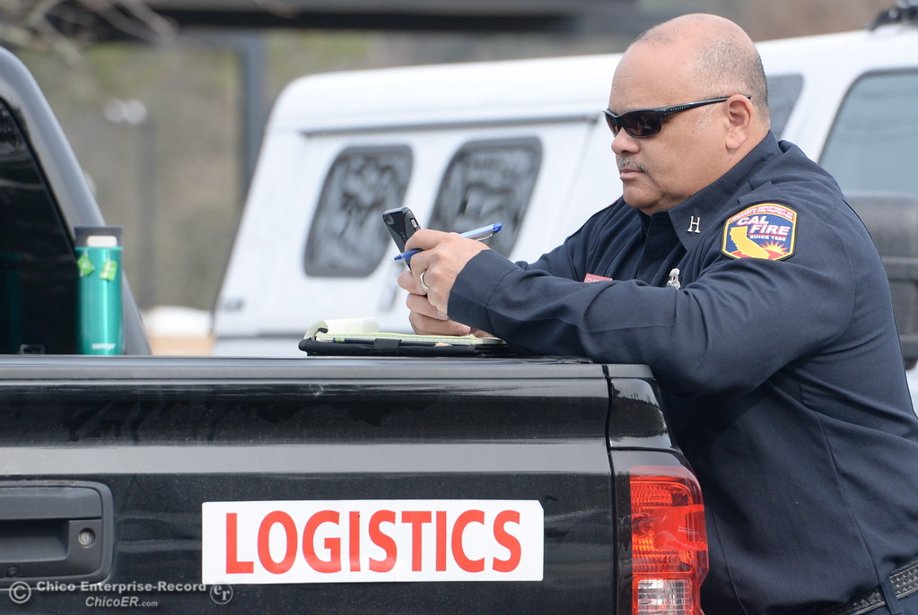 . Milford Ferguson Incident Management Team 2 Logistics section Chief leans against a logistics truck as the Lake Oroville Dam Spillway emergency continues in Oroville, Calif. Mon. Feb. 13, 2017. (Bill Husa -- Enterprise-Record)