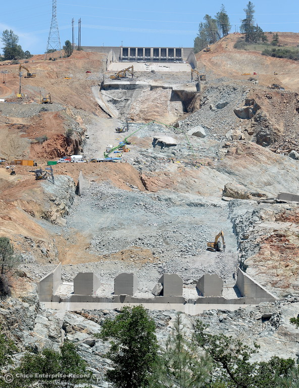 . Work continues on the Lake Oroville Dam Controlled Spillway in Oroville, Calif. Monday June 5, 2017. (Bill Husa -- Enterprise-Record)
