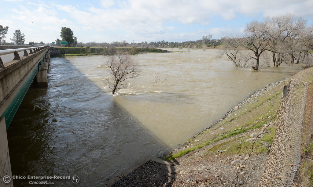 . The Feather River continues to flow high as the Lake Oroville Dam Spillway emergency continues in Oroville, Calif. Thurs. Feb. 16, 2017. (Bill Husa -- Enterprise-Record)