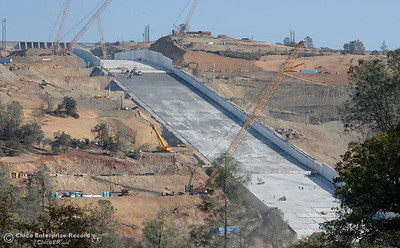 Construction continues at the Lake Oroville Dam Spillway Wed. Nov. 1, 2017. Today is the deadline that was set months ago for DWR to have the spillway ready if needed. (Bill Husa -- Enterprise-Record)