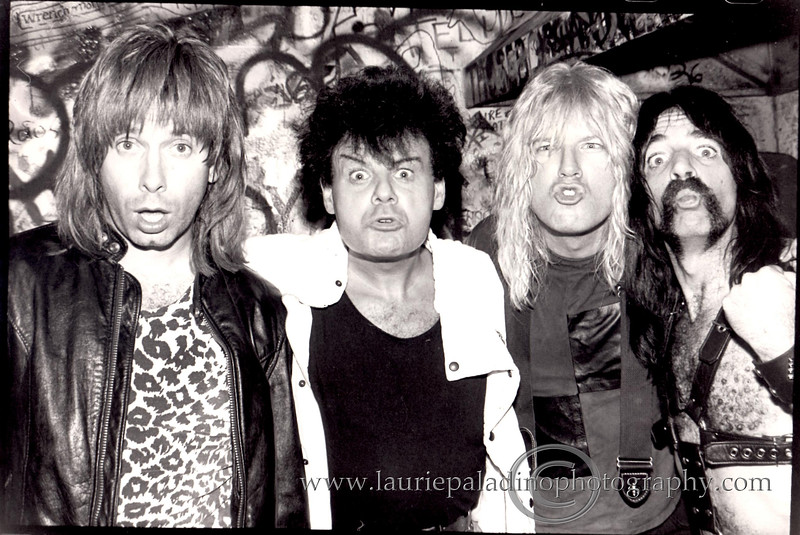 Spinal Tap Meets Gary Glitter Backstage at CBGB's in New York City May 06. 1984