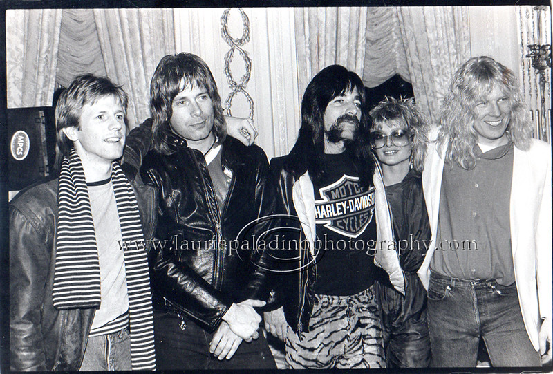 Spinal Tap With Original MTV Vee Jays Alan Hunter and Nina Blackwood at Press Conference in NYC 02/01/1984