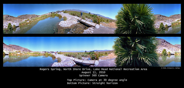 "These images of the ""oasis"" show the walking path/bridge.  The top one was accidentally taken with the camera about 30 degrees off of horizontal.  Thus the roller coaster look.  The bottom image was shot with the camera properly levelled for a horizontal, straight horizon."
