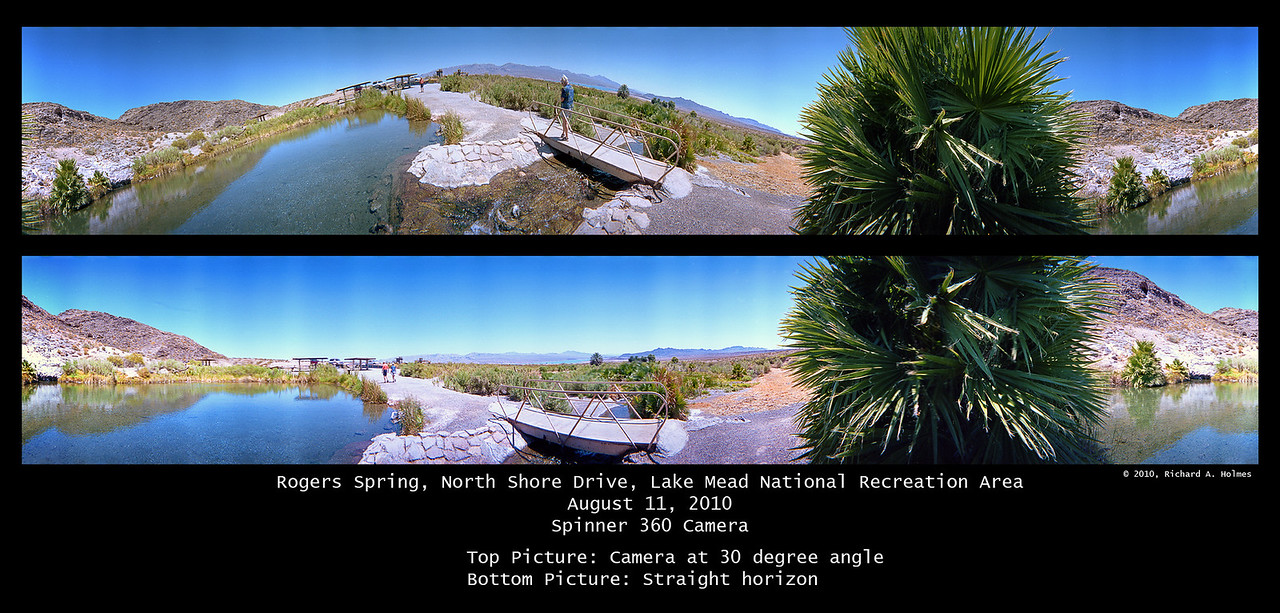 """These images of the """"oasis"""" show the walking path/bridge.  The top one was accidentally taken with the camera about 30 degrees off of horizontal.  Thus the roller coaster look.  The bottom image was shot with the camera properly levelled for a horizontal, straight horizon."""