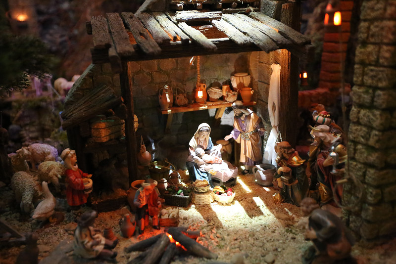 The classic manger scene is lit by simulated moonlight in a display created by Father Alberto Curbelo at St. Francis de Sales in St. Paul.