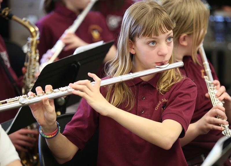 12:54 p.m. Good Shepherd School, Golden Valley: Sixth-grader Alexis Murphy plays the flute during band class.