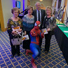 Spider-Man, aka Jordan Raffalli of North Andover, with, from left, Marylou Carota, Carol King, and Billy and Kathy Gianis, all of Lowell