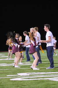 Dance Team promoting Big Band Dance at the Menlo Atherton Varsity Football vs. Menlo School 2013-11-08