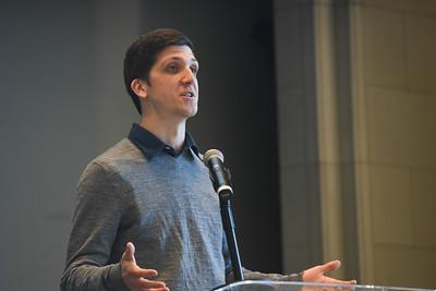 Josh Riedel speaks in Chapel