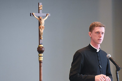 Father Michael Fye speaks at Chapel Monday April 3, 2017