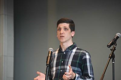 Josh Riedel speaks at Chapel