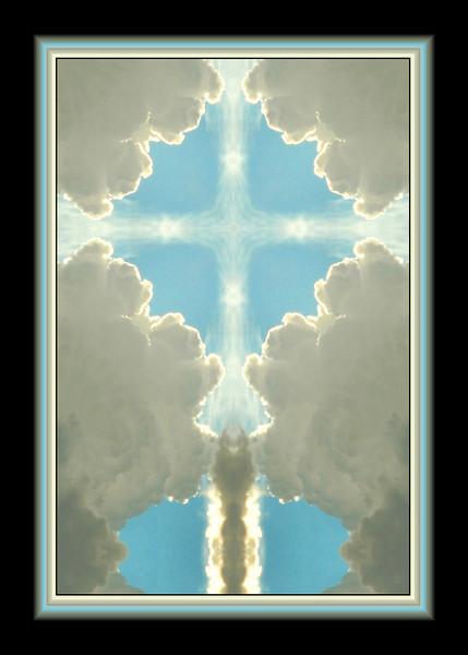 backlit clouds, blue sky