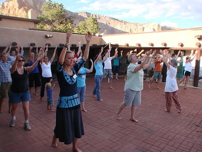 "Ali Newell leads the young adults in the ""Body Prayer"" movements in the Casa del Sol Courtyard, Ghost Ranch. With gratitude to Dr. Patricia Cane of ‪http://www.capacitar.org/ for the inspiration for this body prayer. http://www.salvaterravision.org/  http://www.ghostranch.org/"