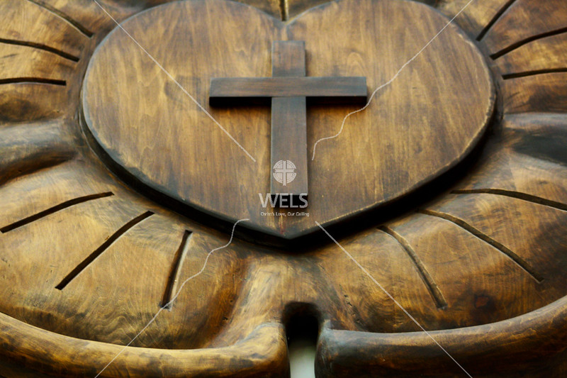Carved Wooden Luther's Seal at Michigan Lutheran Seminary by jduran