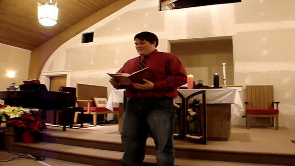 "Zac Cullen leads our Responsive Reading, ""The Song of Zechariah"""