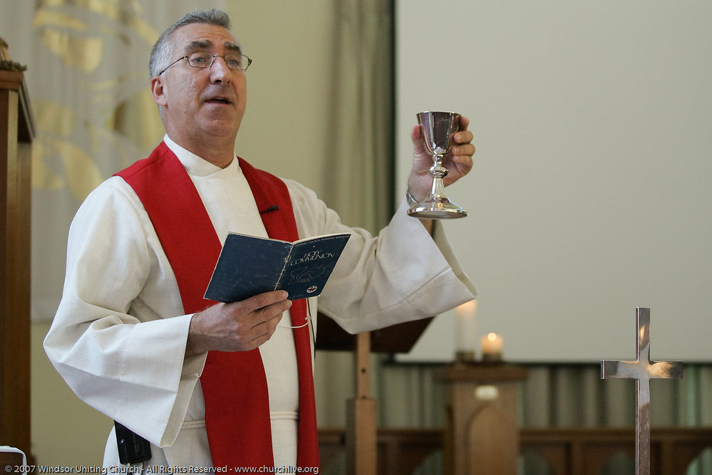 """Rev Dan Skippen conducts the Sacrament of Holy Communion - Combined Service at Wilston Uniting Church - churchlive.org - """"Step into the Light"""" - Windsor Uniting Church, Brisbane, Queensland, Australia, 2008."""