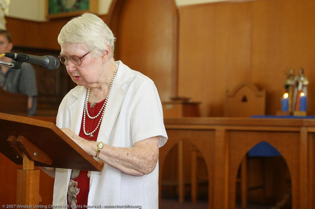 "Josie presents the Bible Reading - churchlive.org - ""Step into the Light"" - Windsor Uniting Church, Brisbane, Queensland, Australia, 2008."