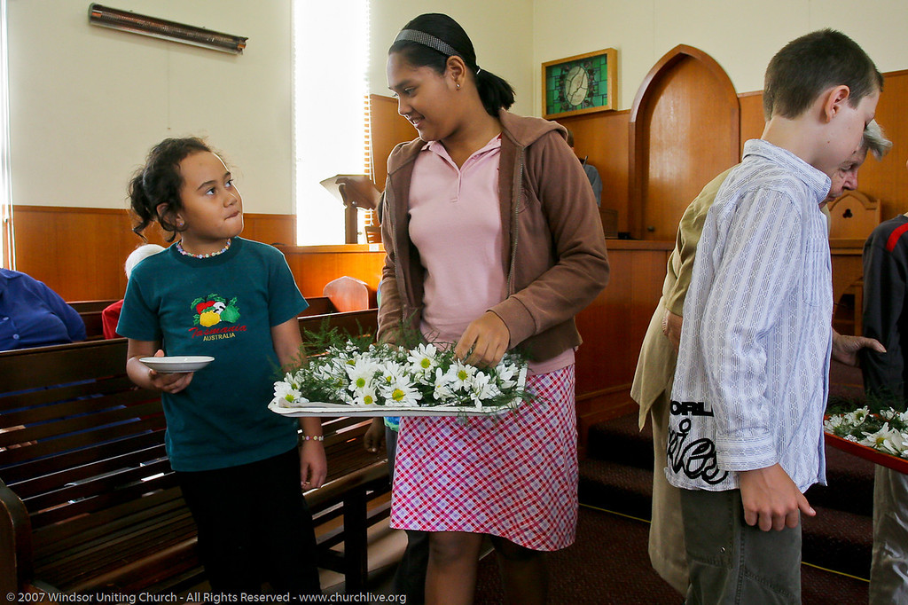 """Distributing Mothers' Day Flowers - churchlive.org - """"Step into the Light"""" - Windsor Uniting Church, Brisbane, Queensland, Australia, 2008."""